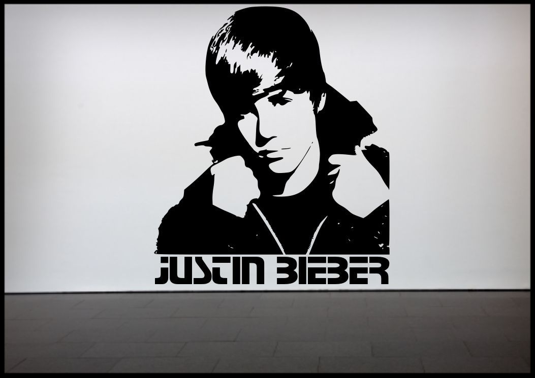 justin bieber wall sticker bedroom vinyl art decal mural justin bieber all around the world song lyrics wall