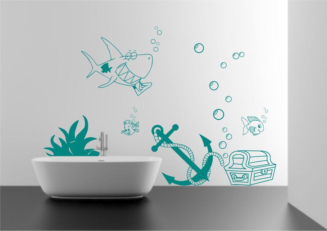 Kids Seabed Sea Fish Shark Bubbles Wall Art Sticker Decal