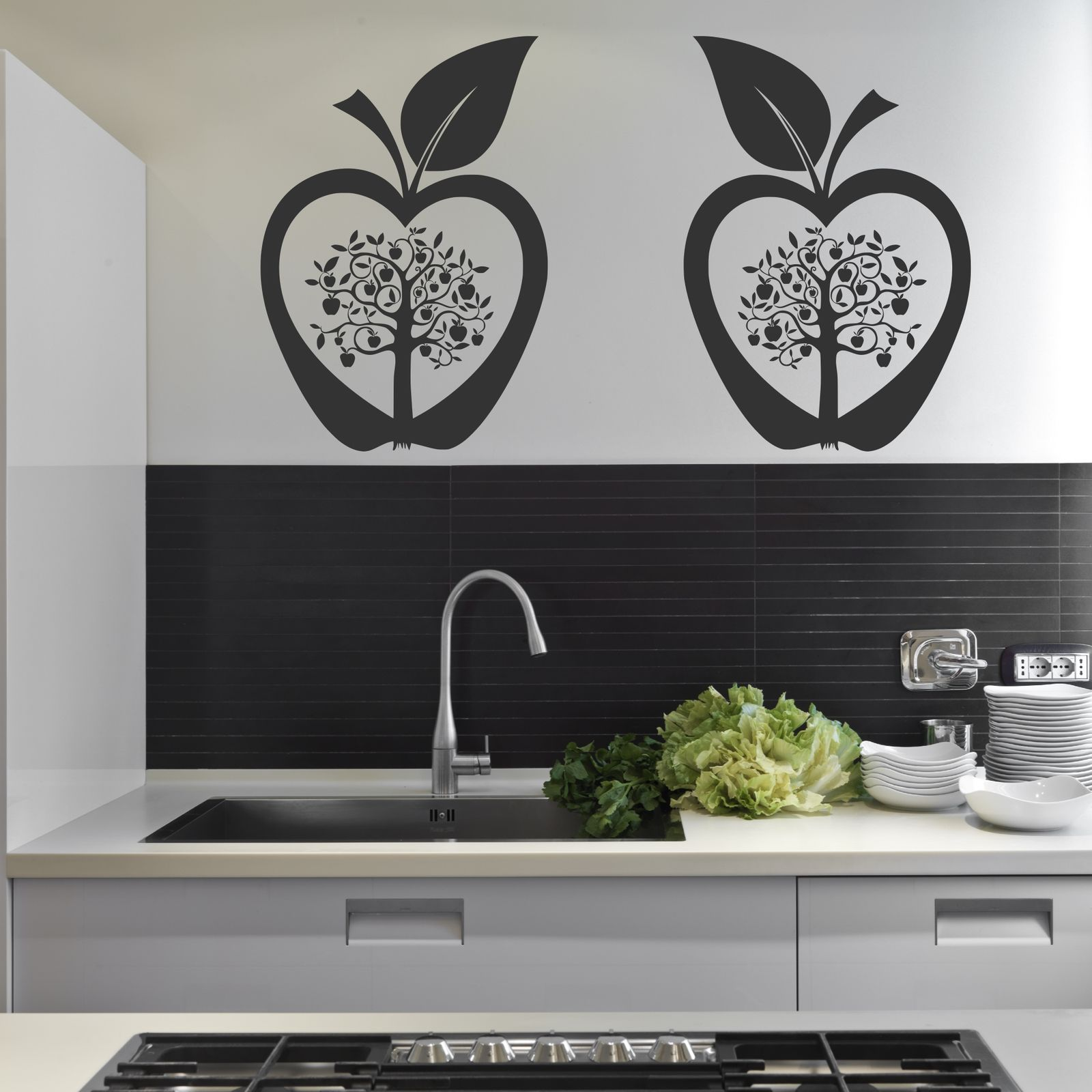 Kitchen apple tree flower modern wall art sticker decal for Apple tree mural