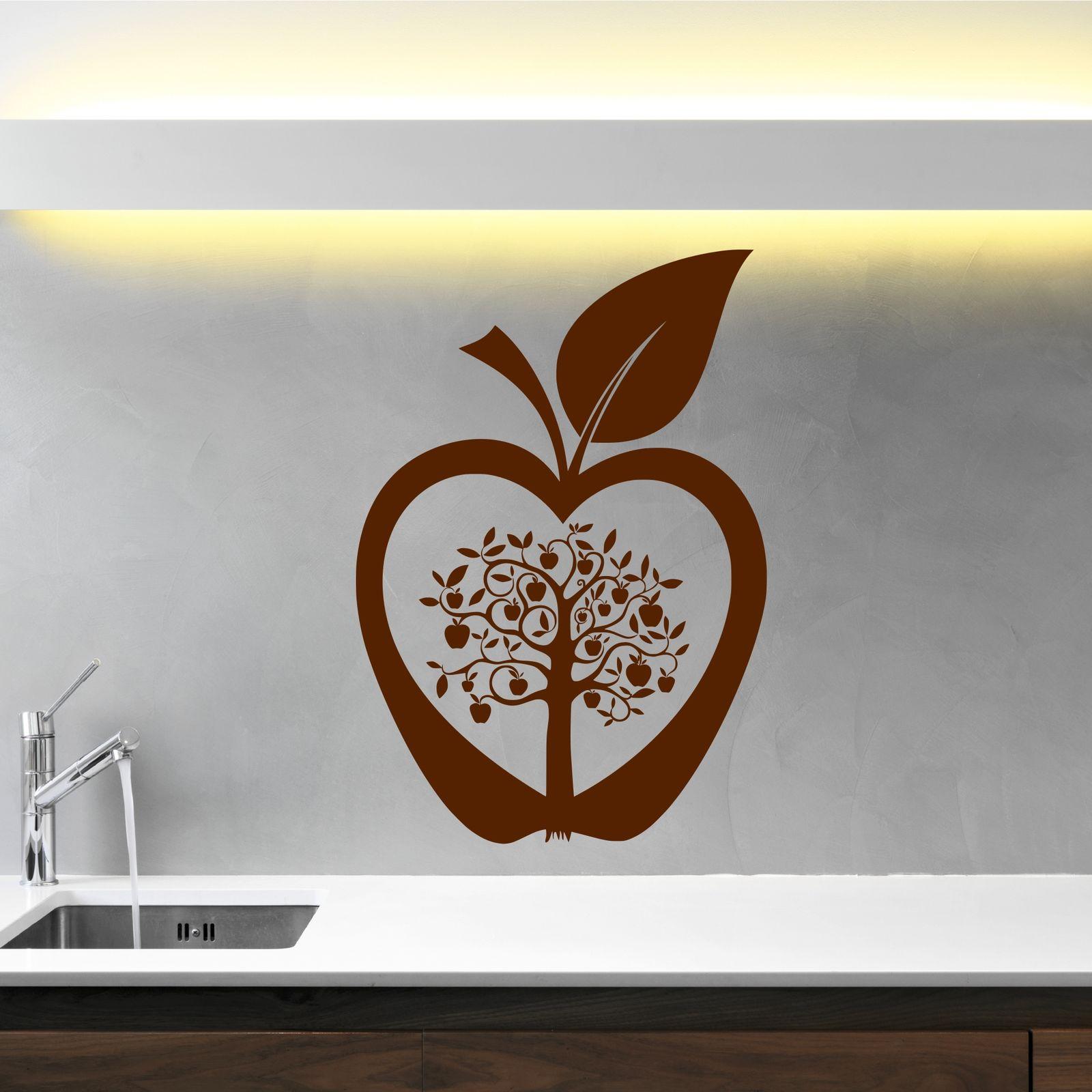 Wall Art Transfer Stickers : Kitchen apple tree flower modern wall art sticker decal