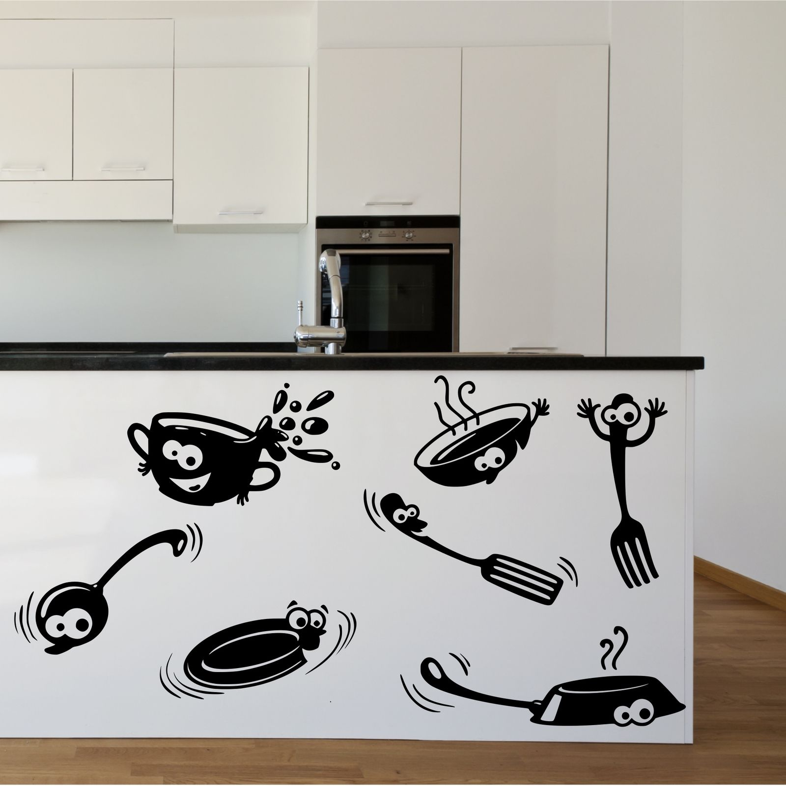 For Kitchen Wall Art Kitchen Cupboard Cartoon Stickers Vinyl Wall Art Decal Transfer