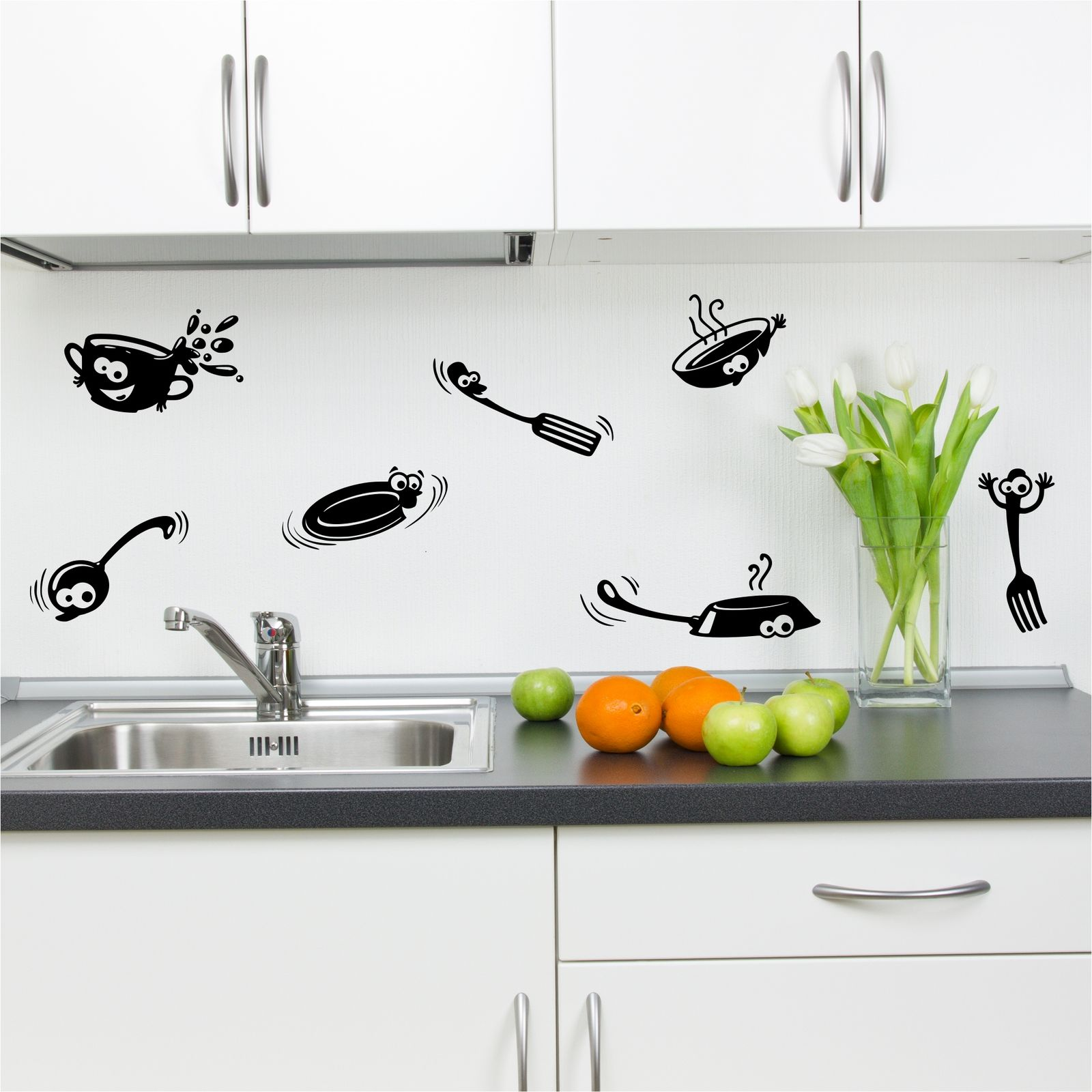 Kitchen Cupboard Cartoon Stickers Vinyl Wall Art Decal Transfer ...
