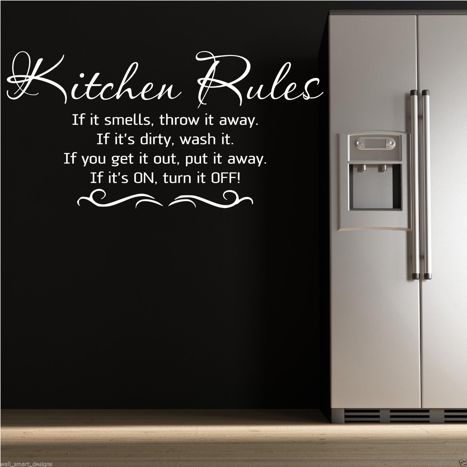 kitchen rules wall art sticker kitchen quote mural stencil transfer wsd506 ebay. Black Bedroom Furniture Sets. Home Design Ideas