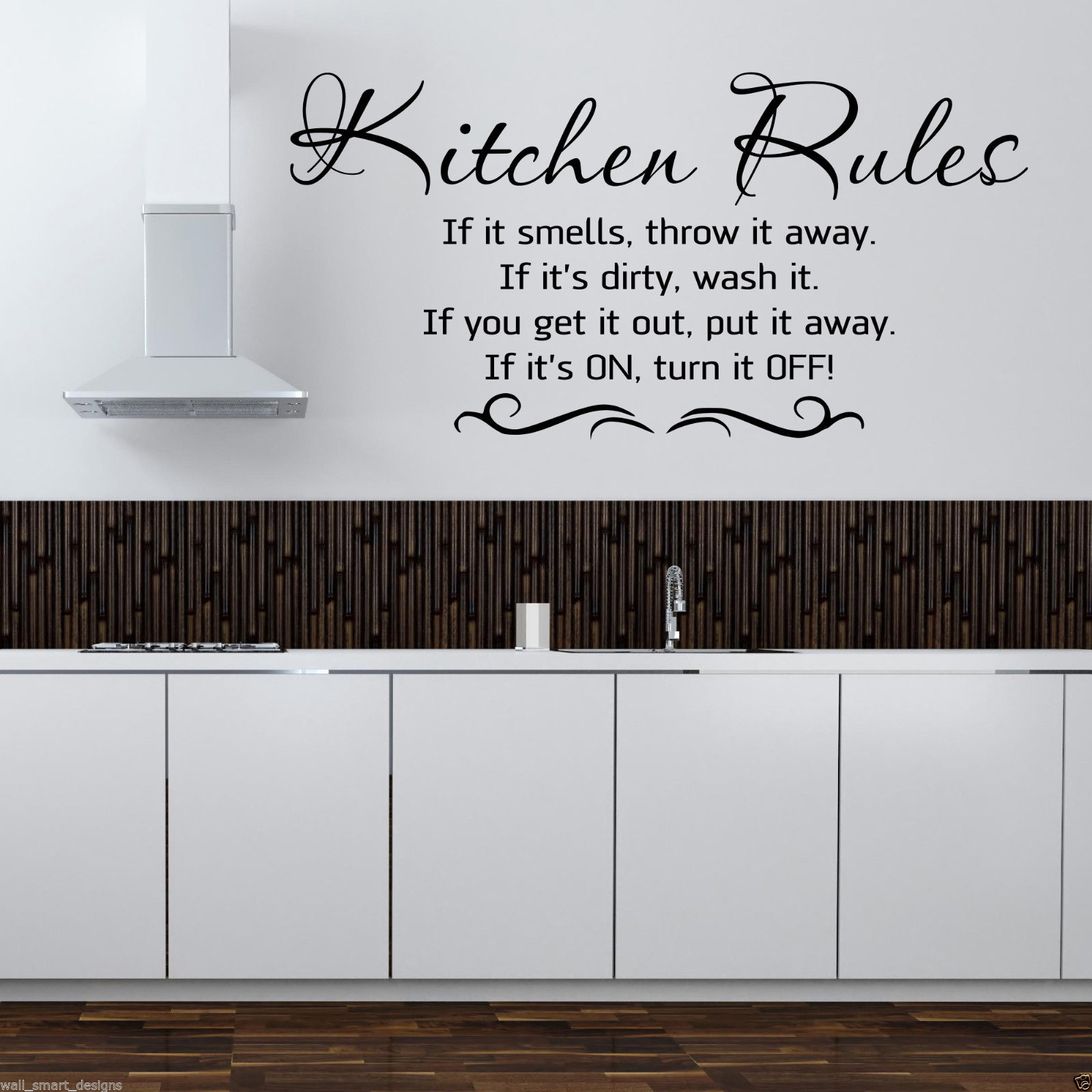 KITCHEN RULES Wall Art Sticker Kitchen Quote Mural Stencil Transfer ...