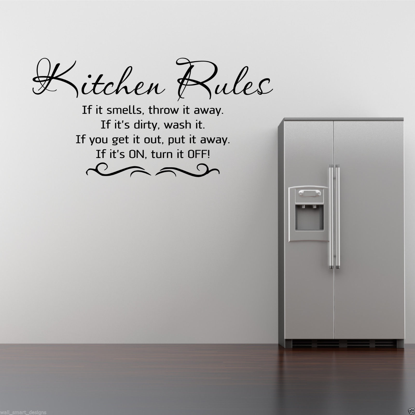 KITCHEN RULES Wall Art Sticker Kitchen Quote Mural Stencil