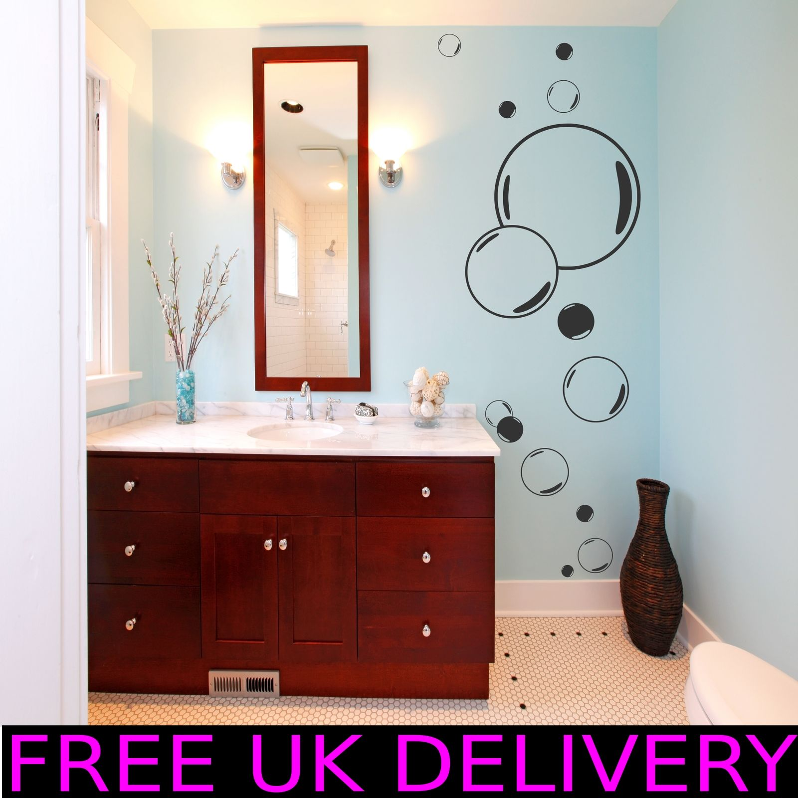 Large Big Bubbles Bathroom Wall Art Stickers Decal