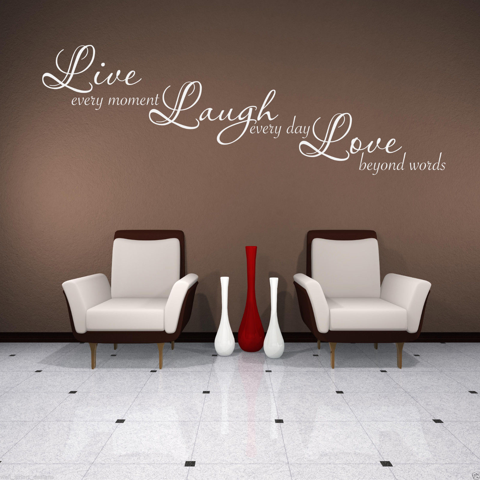 LIVE LAUGH LOVE Wall Art Sticker Lounge Quote Decal Mural Stencil Transfer 3
