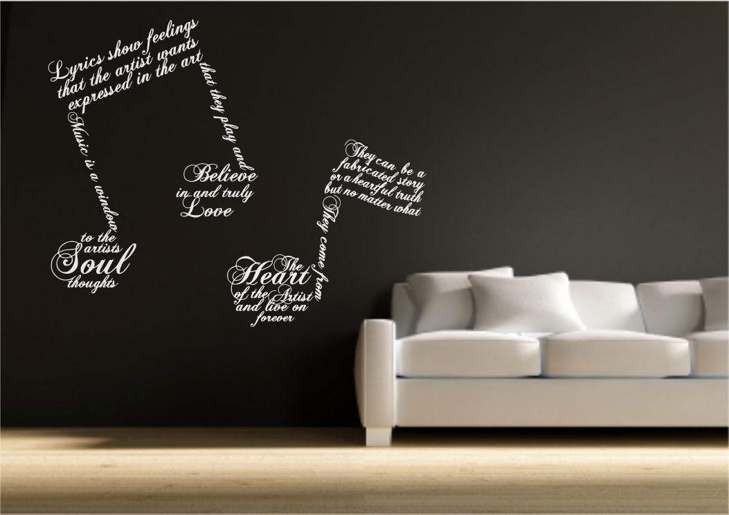 Music note symbols wall art sticker quote decal transfer for Stencil wall art