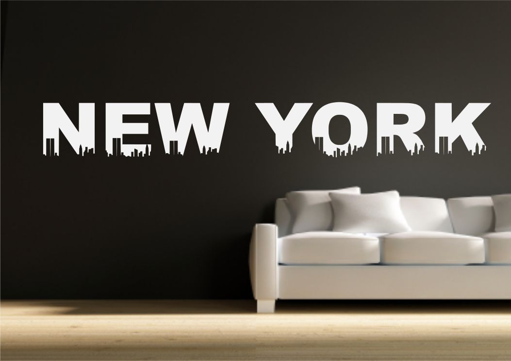 Wall Sticker New York Quote Living Room Decal Transfer Mural Bedroom ...