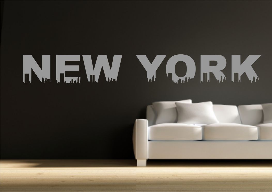 Wall sticker new york quote living room decal transfer for Soggiorno new york