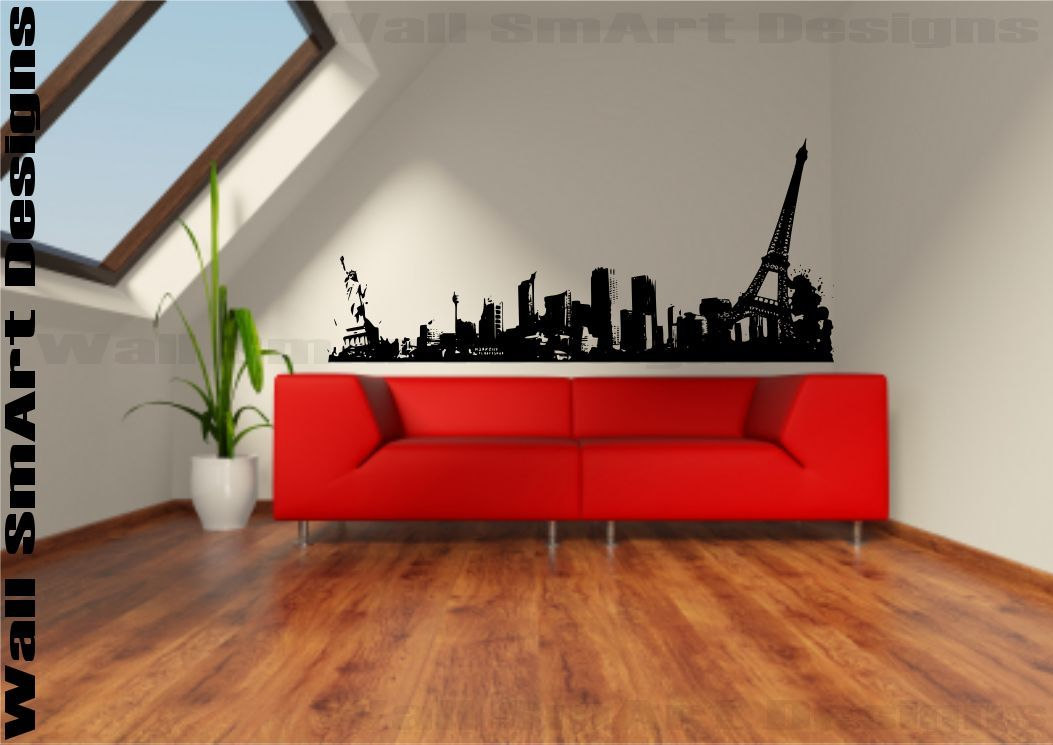 new york to paris skyline wall sticker vinyl sticker decal mural room. Black Bedroom Furniture Sets. Home Design Ideas