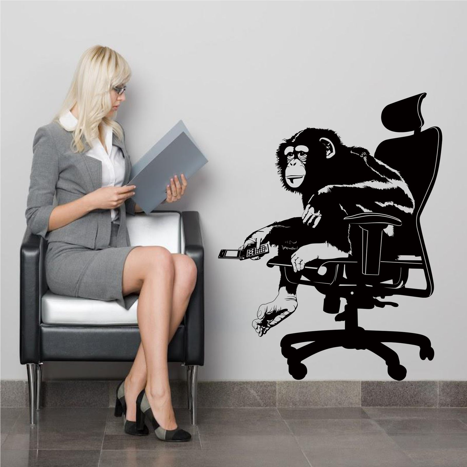 Office monkey chimp animal wall art wall sticker decal for Tattoo shops hiring front desk