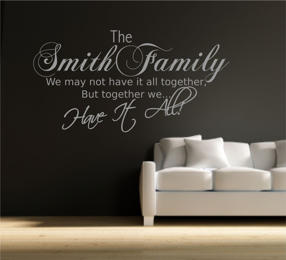 Personalised Family Name Wall Art Quote Phrase Sticker Mural Decal ...
