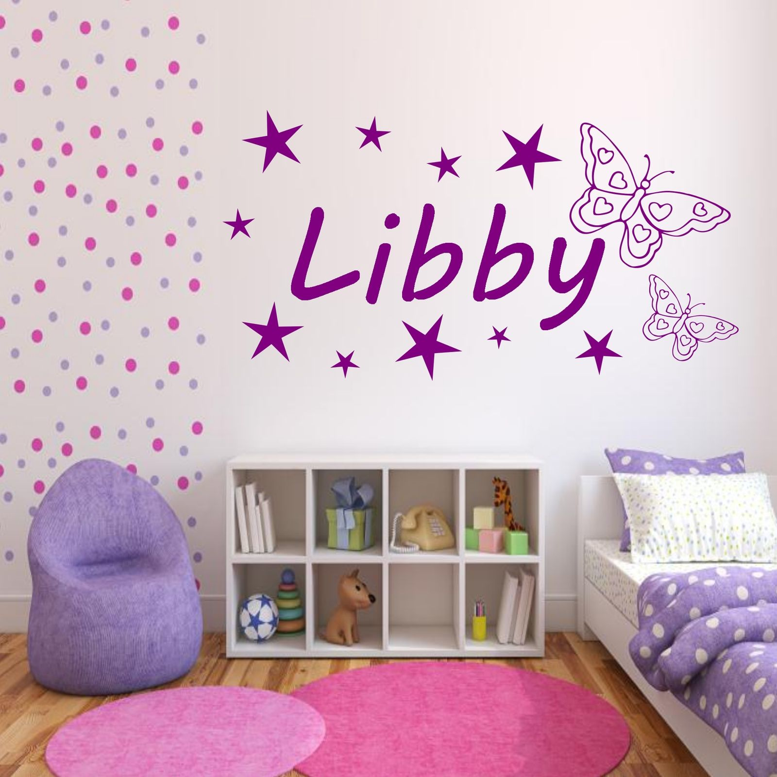 Personalised-Girls-Name-Butterfly-Bedroom-Wall-Art-Stickers-  sc 1 st  eBay & Personalised Girls Name Butterfly Bedroom Wall Art Stickers Decal ...
