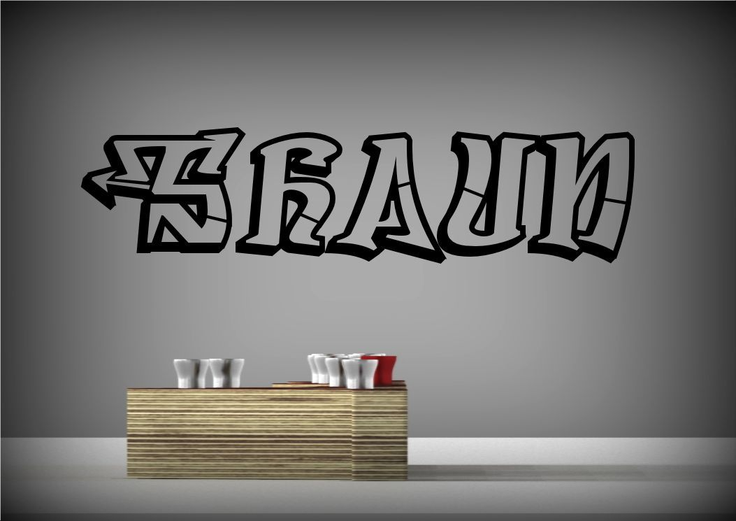 personalised graffiti name wall art sticker decal mural personalised graffiti block wall sticker name stickerbay
