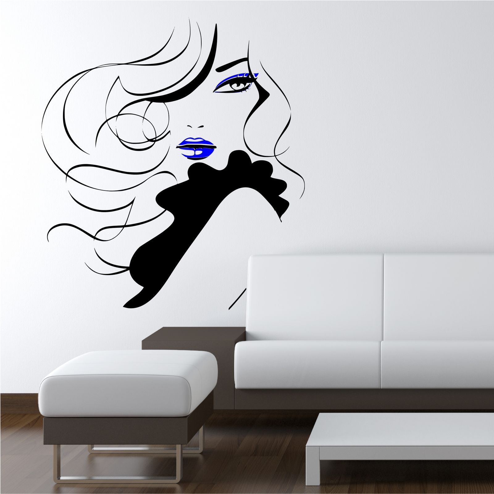 Pin up girl women modern hair salon wall sticker decal for Pochoir mural geant
