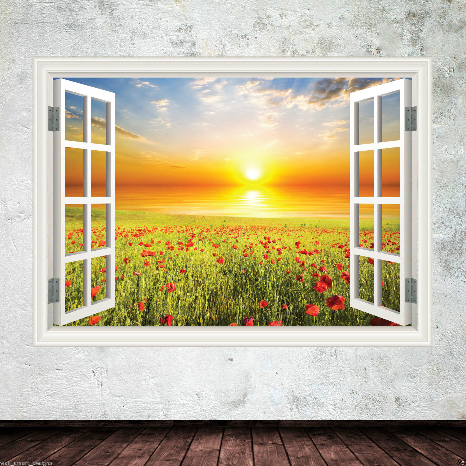 Window Frame Wall Art poppy window frame full colour wall art sticker decal transfer