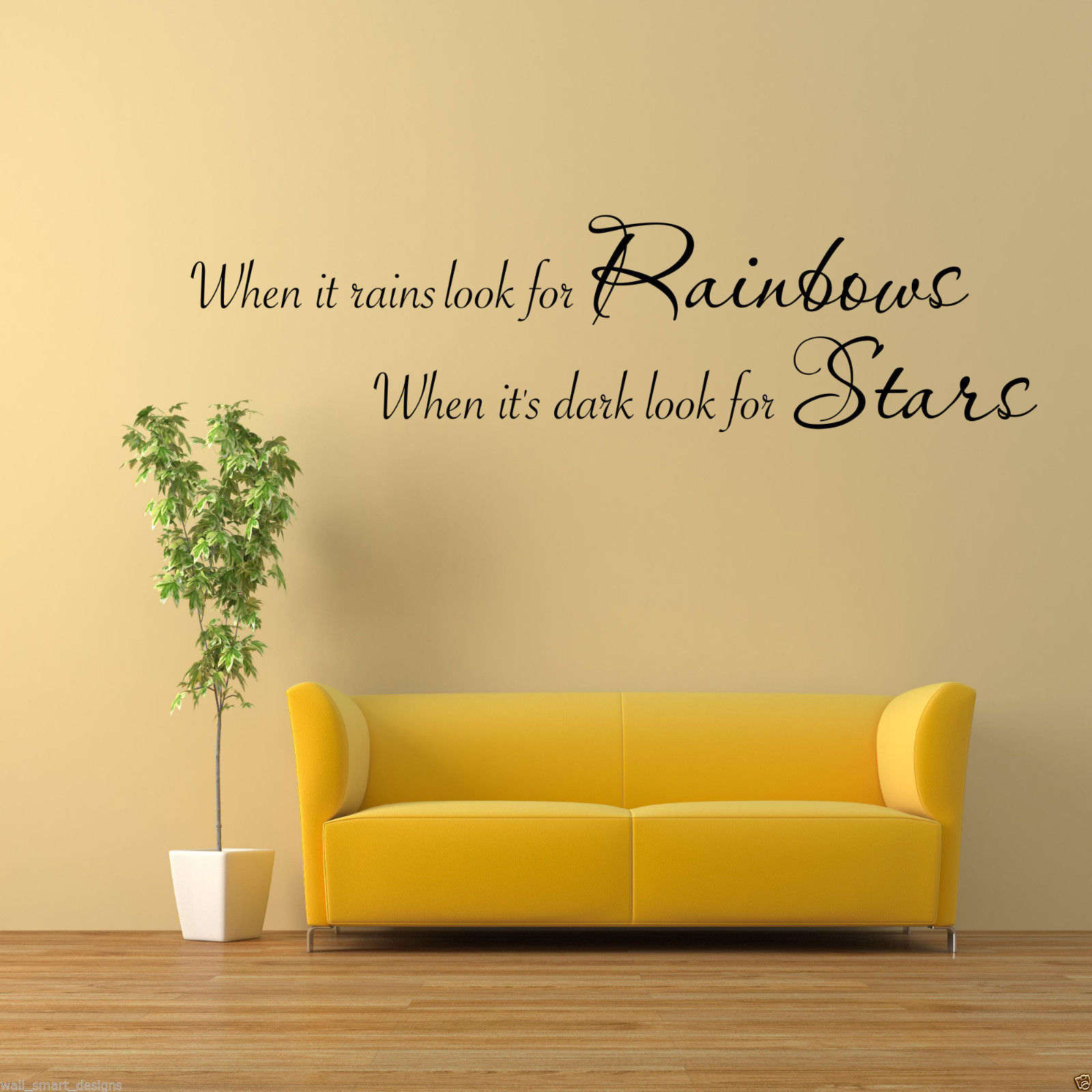RAINBOWS STARS Wall Art Sticker Lounge Room Quote Decal Mural ...