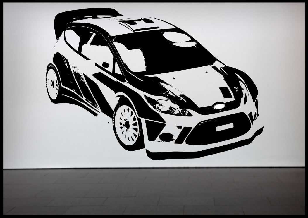 Rally car racing car wall sticker bedroom decal mural wall for Cars wall mural sticker