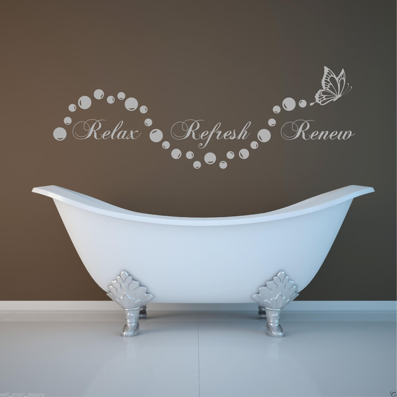 Relax bathroom bubbles en suite wall art sticker quote for Stencil wall art