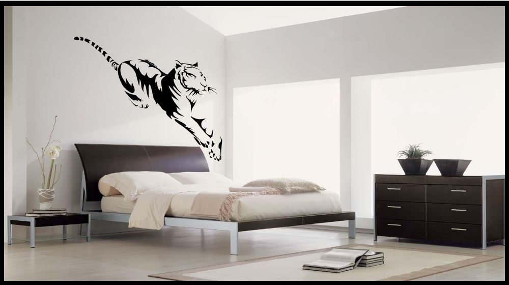 Adesivo Parete Bianco Tiger Trasferimento Stencil Murale ...