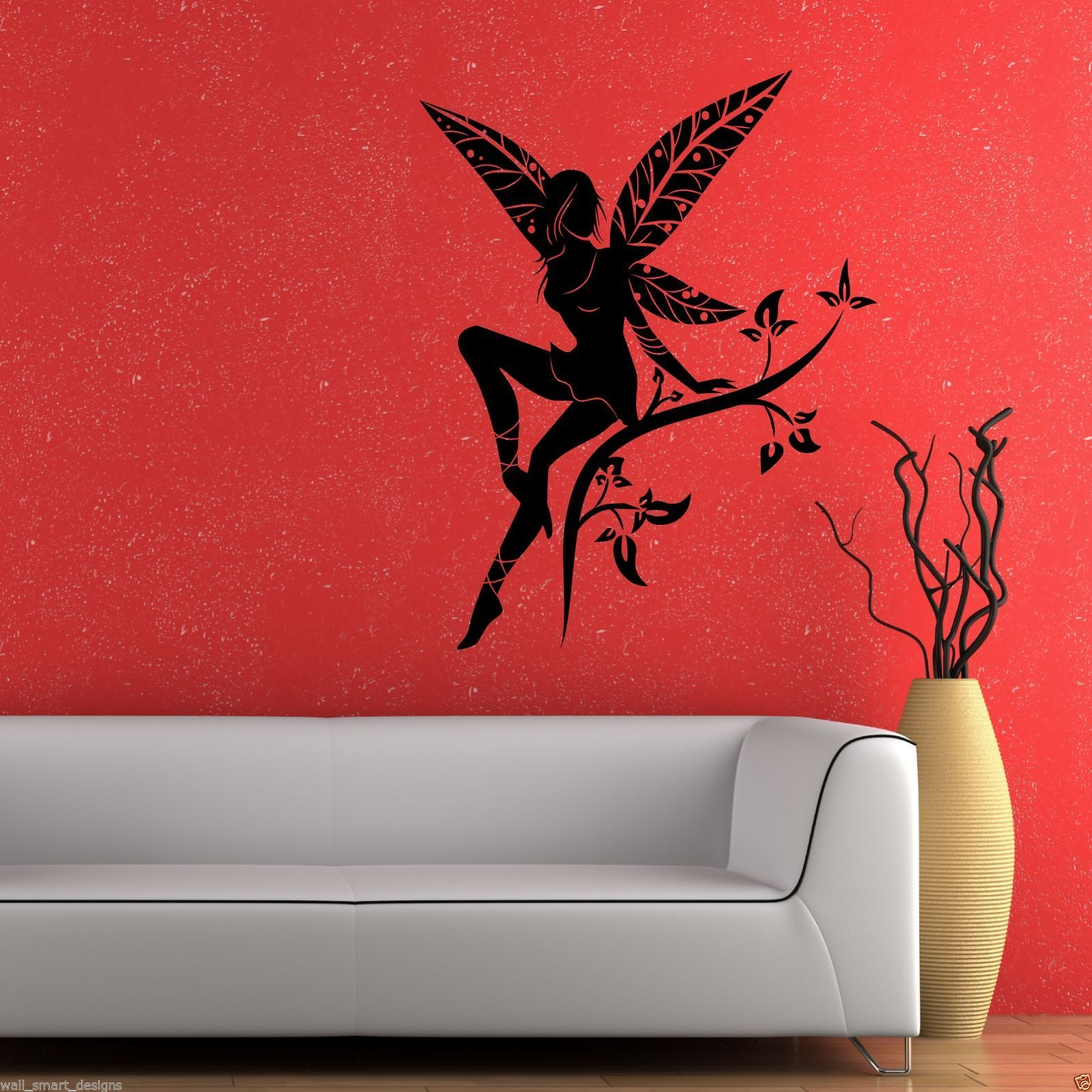 wild flower fairy plant tree wings wall stickers decals murals transfers vinyl ebay. Black Bedroom Furniture Sets. Home Design Ideas