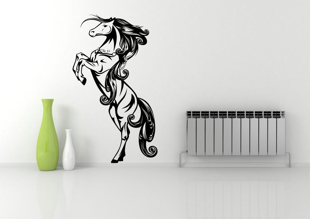 Wild horse standing galloping wall art sticker decal mural for Custom vinyl mural prints