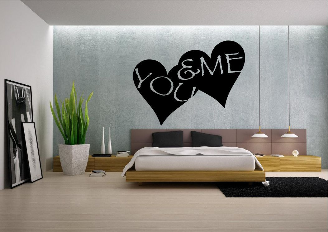you me love heart wall art quote sticker decal mural bedroom ... - Stencil Camera Da Letto