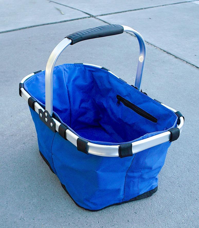 Foldable Picnic Basket, Folding Shopping Bag,Aluminium Frame, Zipper,Waterproof