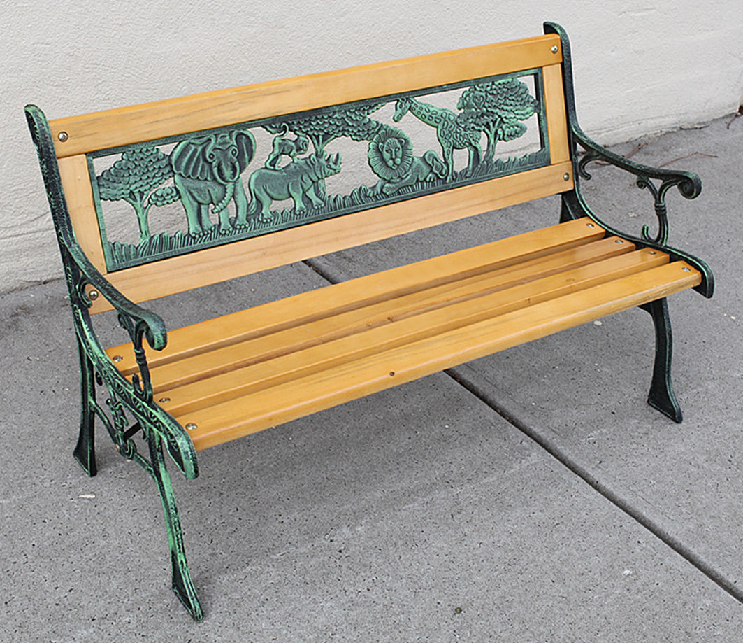 Kids Park Bench Wooden Bench Cast Iron Leg Garden Outdoor Furniture Lounge Seat Ebay