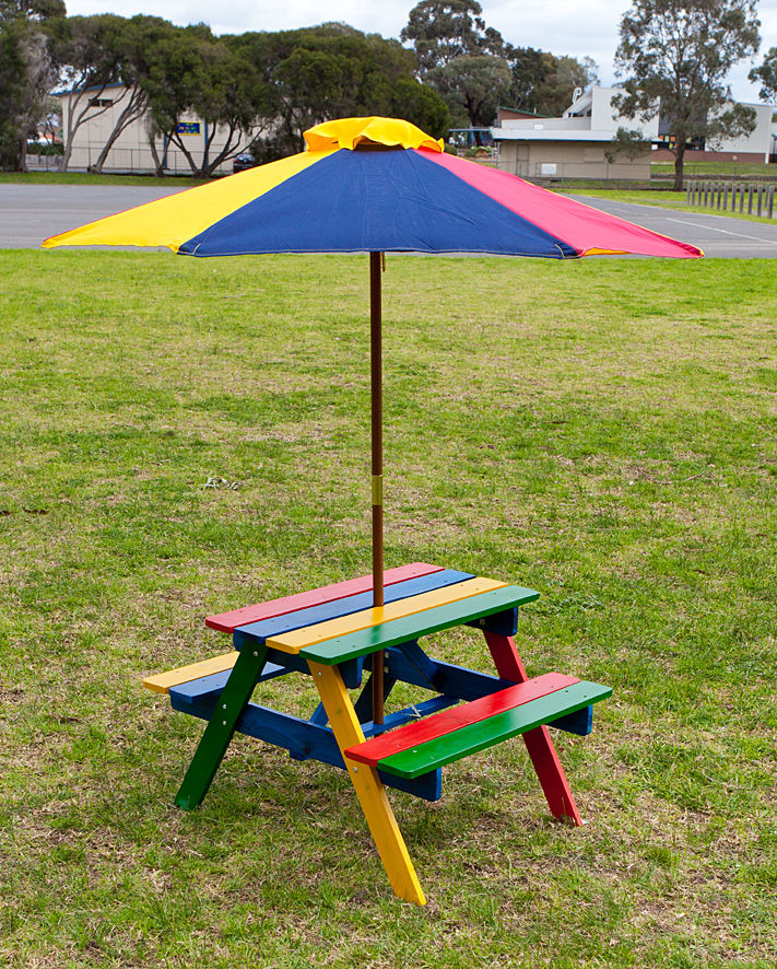 Kids Picnic Table Setting W Umbrella Wooden Children Garden Park Outdoor Kid Ebay