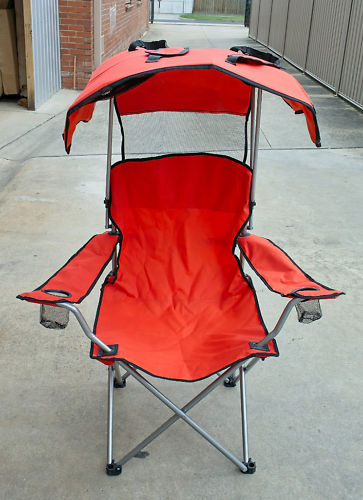 NEW Beach Sun camping folding CHAIR w shade canopy