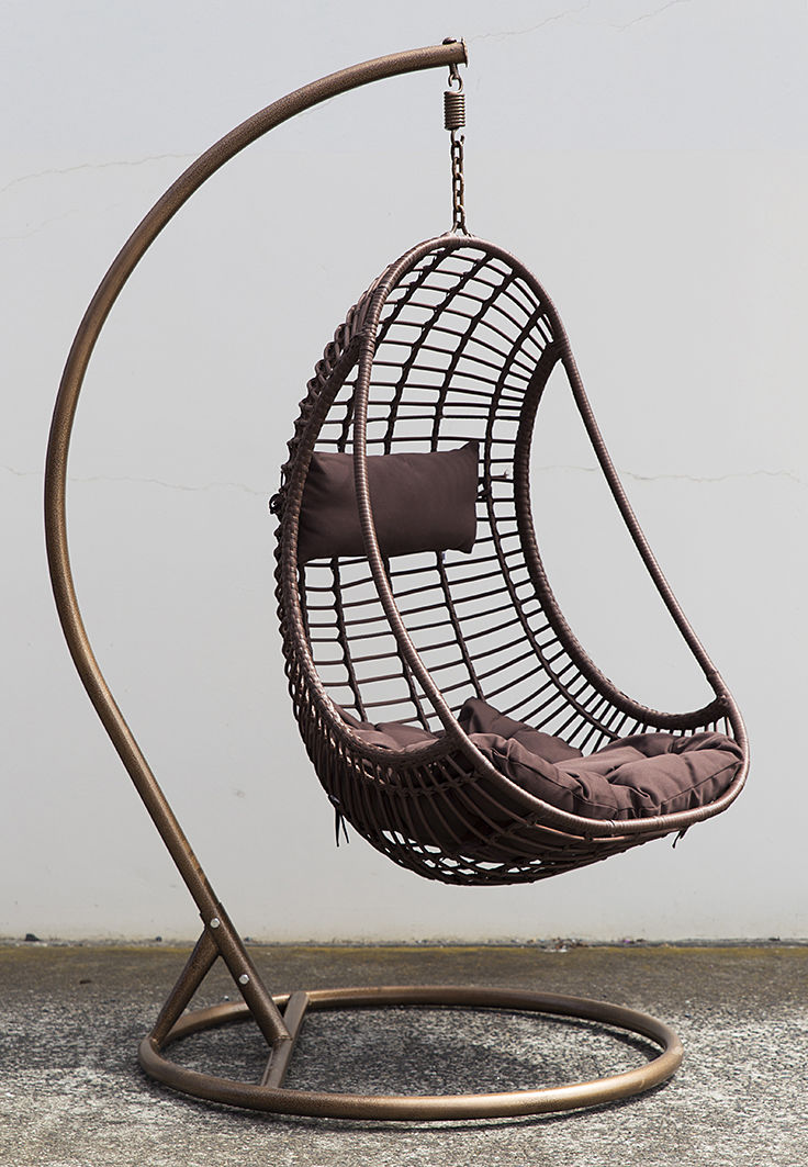Outdoor Hanging Chair W Cushion Coffee Pe Wicker Bird Nest Egg Swing Chair