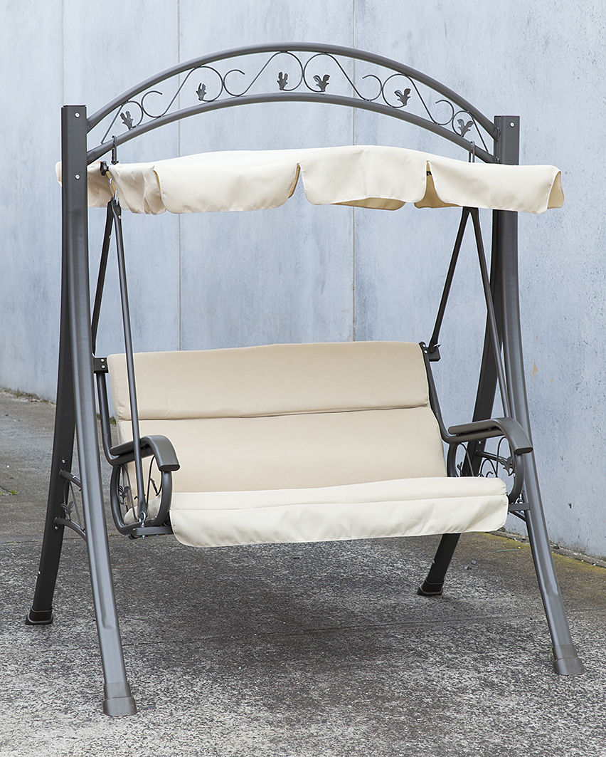 Outdoor Swing Chair Canopy Hanging Chair Garden Bench Seat Steel Frame Cushio