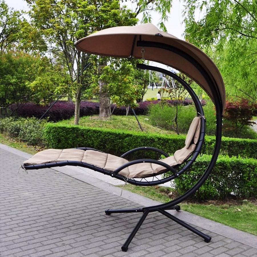 Outdoor Swing Chair Garden Hanging Chair Waterproof Canopy Pool Deck Hammock Bed