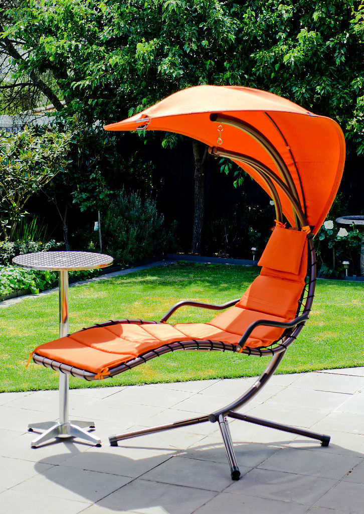 Outdoor Swing Chair w/ Aluminium Bar Table Set,Hanging Chair Waterproof Canopy