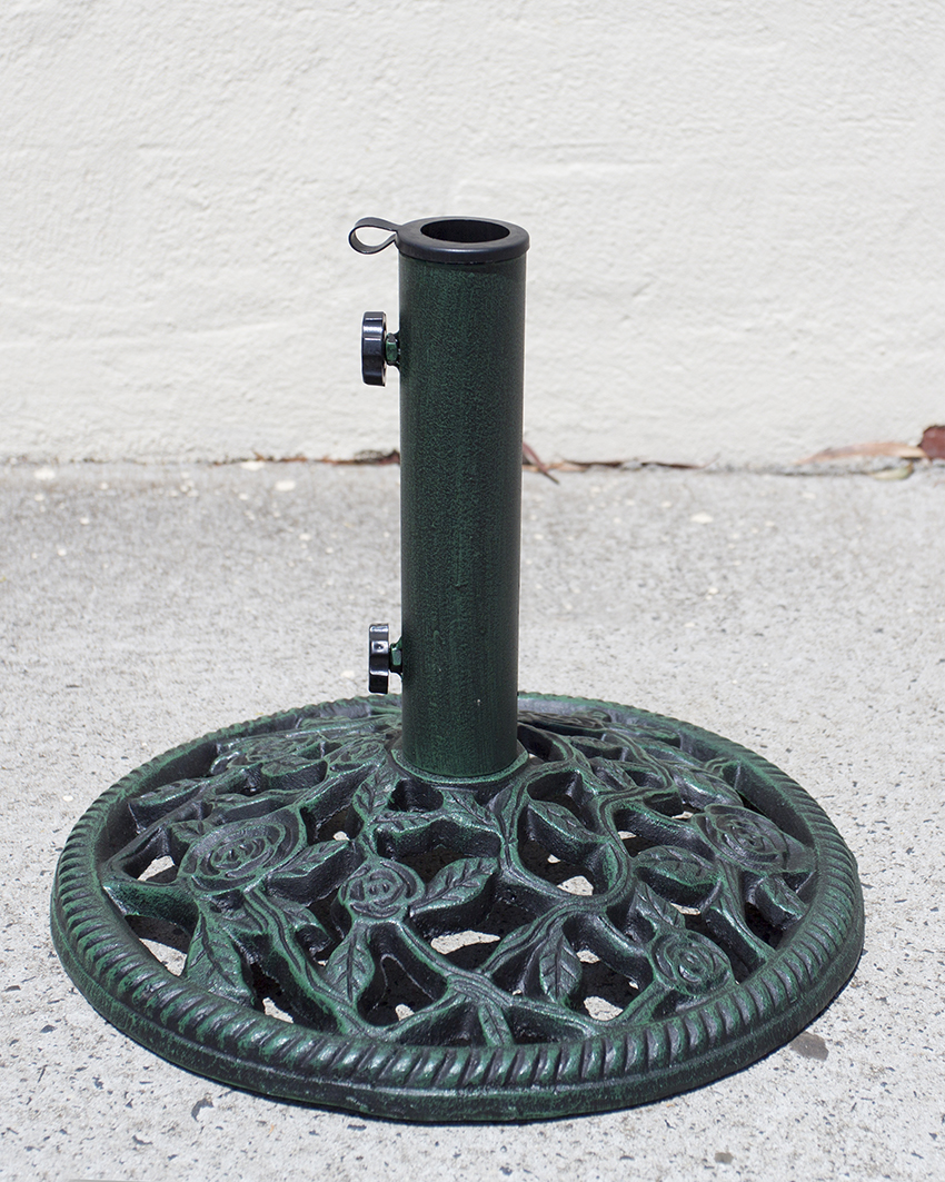 Umbrella stand parasol base cast iron heavy duty rose pattern