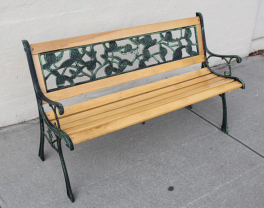 Wooden Bench Cast Iron Rose Pattern Park Bench Garden Outdoor Furniture Lounge Ebay