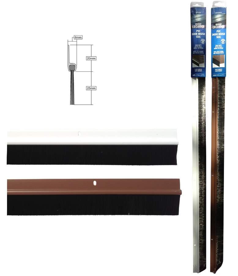Stormguard door brush draught excluder screw fix seal 838mm 33 ebay for Exterior door draught excluder