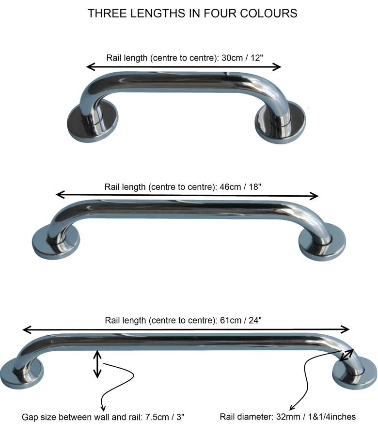 Heavy Duty Steel Safety Grab Rail with Concealed Fixing Points ...