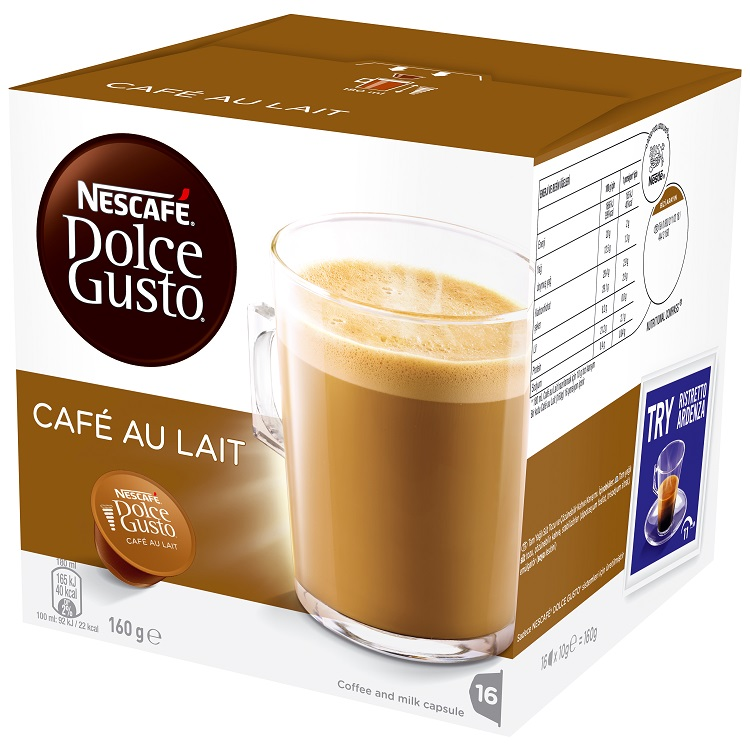 nescafe dolce gusto cafe au lait 16 coffee pods capsules. Black Bedroom Furniture Sets. Home Design Ideas