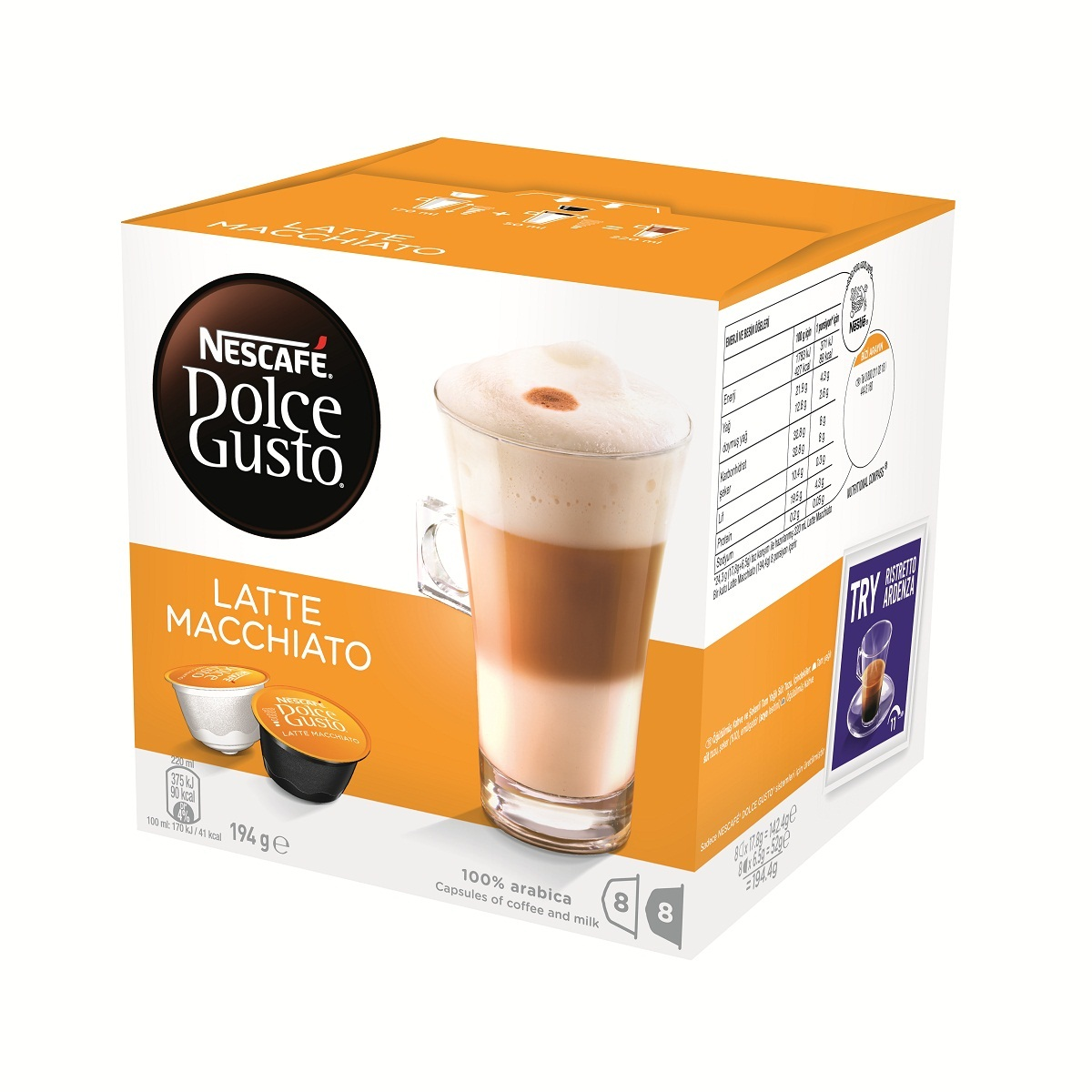 nescafe dolce gusto latte macchiato 8 coffee 8 milk pods. Black Bedroom Furniture Sets. Home Design Ideas