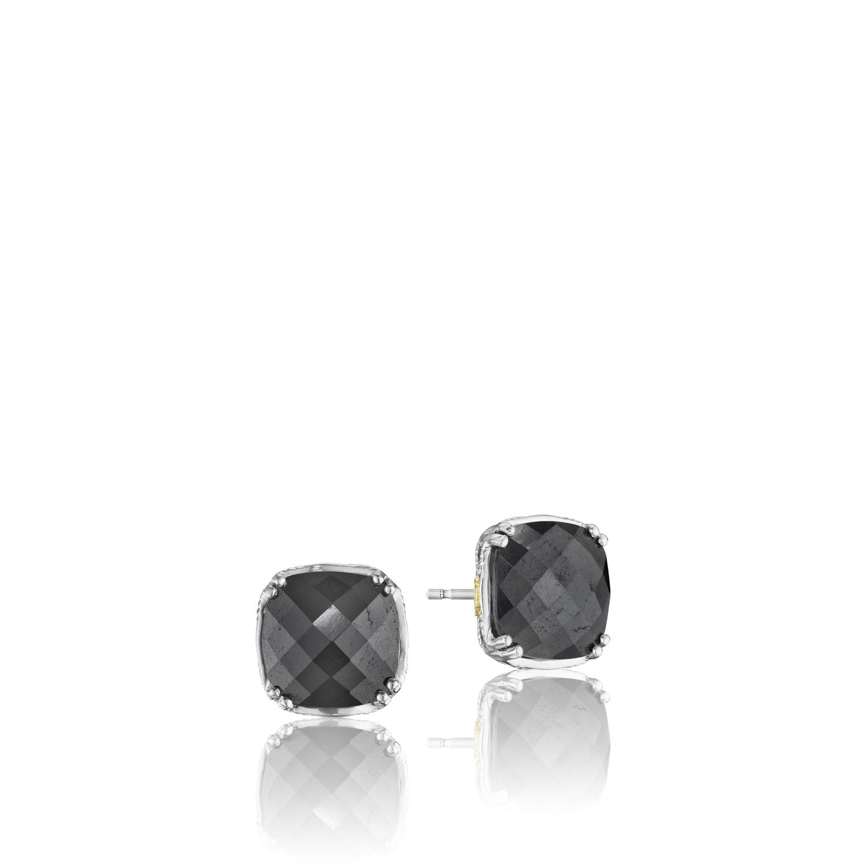 Tacori SE12832 Tacori Silver & 18KTY Hematite Classic Rock Cushion Cut Gem Earrings
