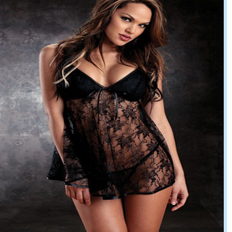 Women Sexy Lingerie Nightwear Underwear Plus Size Lace Dress ...