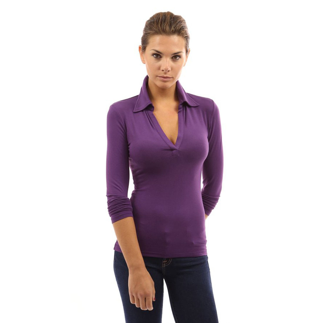 Womens Collar Blouses Deep V Neck High Stretch Long Sleeve