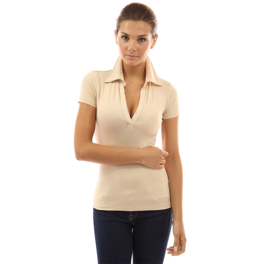 Womens v neck short sleeve polo shirt slim fit casual for Best v neck shirts