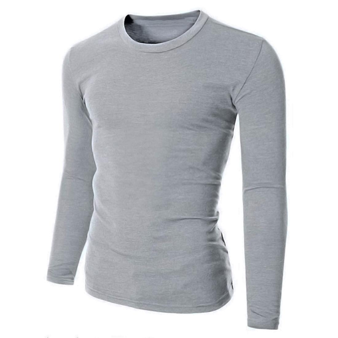 100% Cotton Mens Long Sleeve T-Shirt Basic Tee Crew V Neck Casual ...