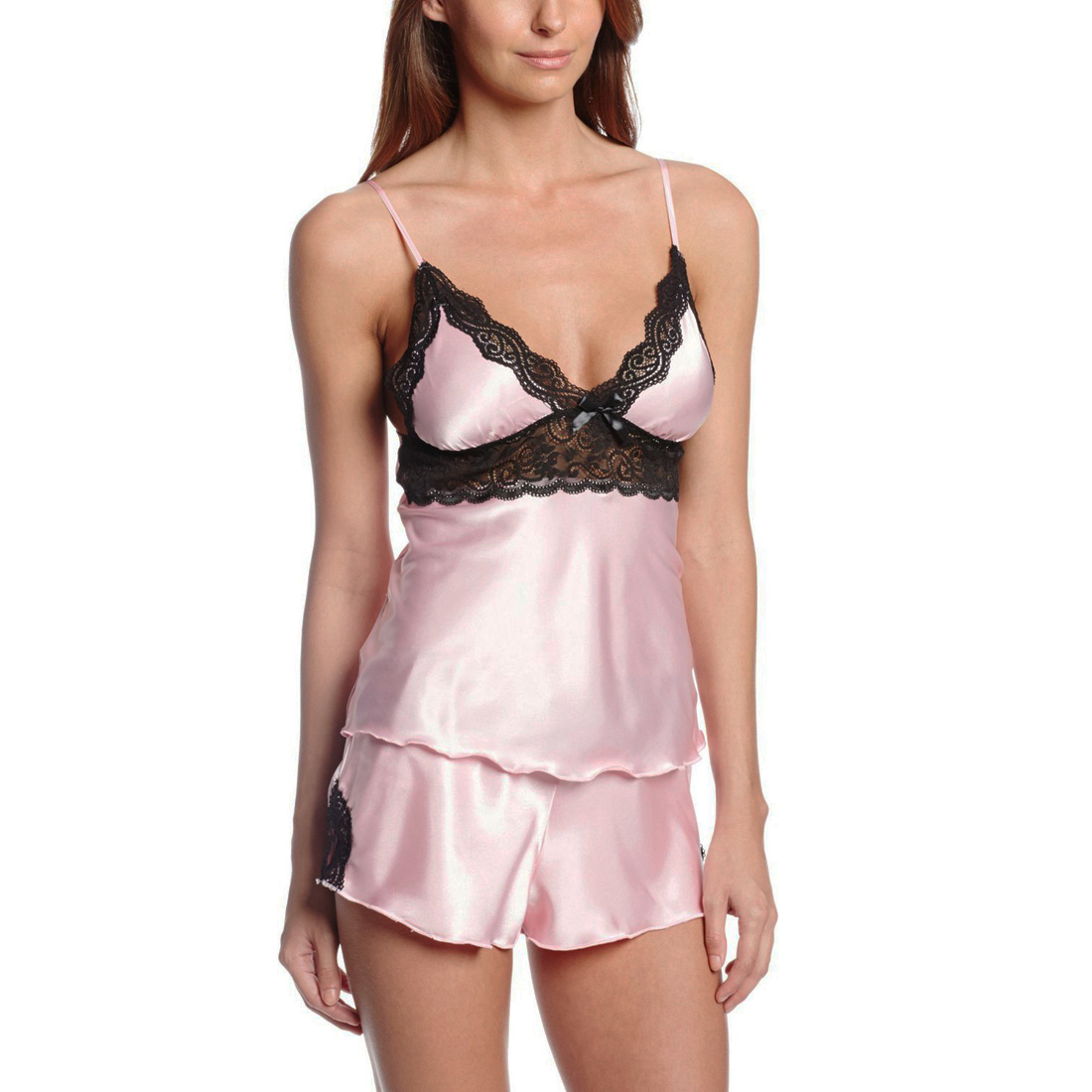 We have a large assortment of women's camisoles available in many styles, colors, and fabric choices. Some camisoles are available alone, and others may be available in a 2-piece set that includes shorts, boy shorts, thongs, or pants.