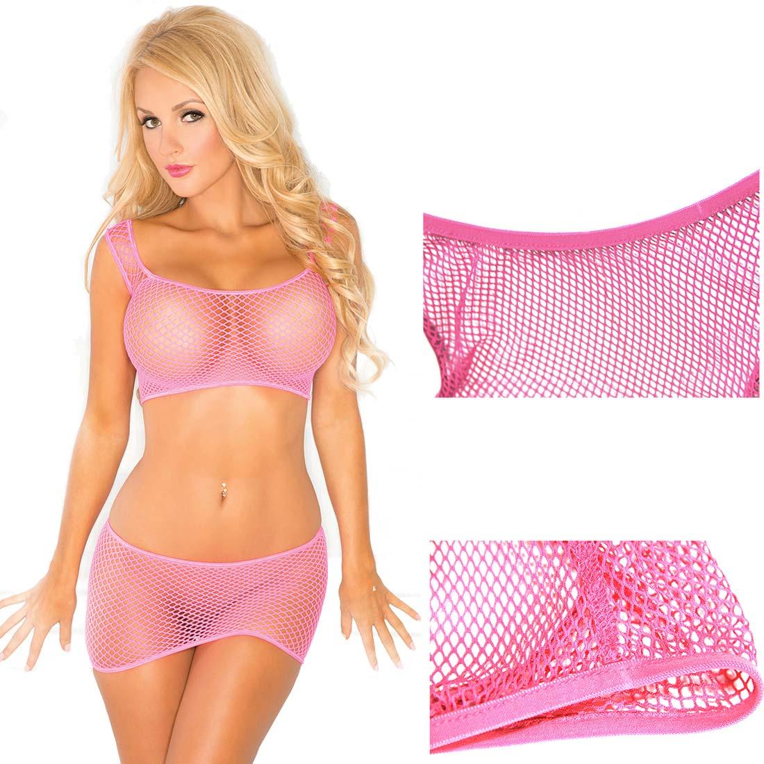 Women Sexy Lingerie Babydoll Tops Sleepwear Mesh Bra Panty Skirt ...