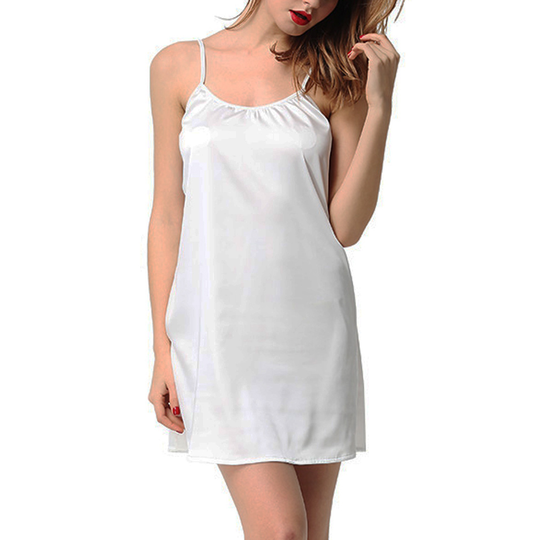 Womens Satin Slip Babydoll Chemise Cami Camisole Nightgown